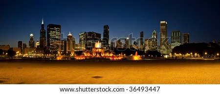 Photo of the Chicago skyline at night from Grant Park.