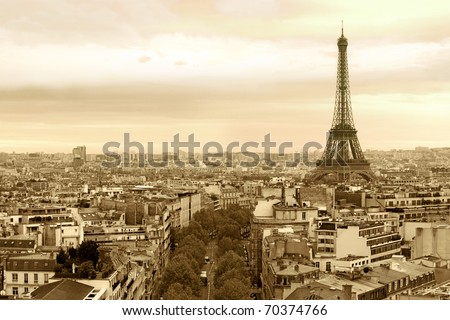 Photo of the cityscape of Paris, France. Sepia-toned.