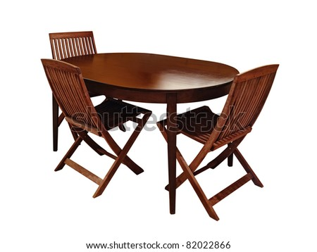 Photo of the dinning table and three chairs over white background