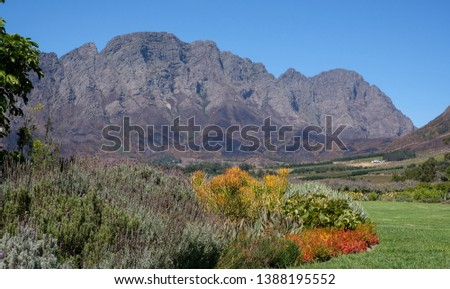 Photo of the Franschhoek valley taken from Mont Rochelle Wine Estate, South Africa, owned by Richard Branson. Stock photo ©