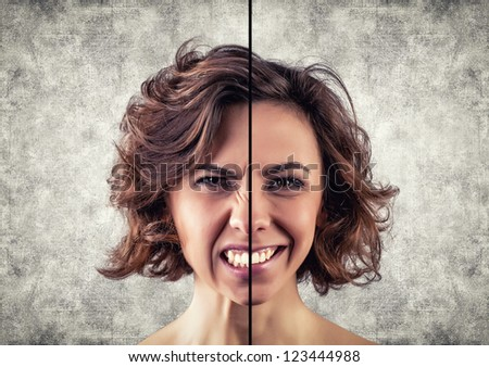 Photo of the girl with a different emotions on a face