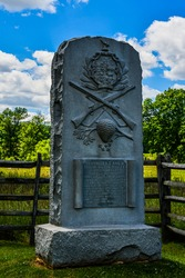 Photo of The Monument to Vermont's Companies E  H of the 2nd United States Sharpshooters, Located near the Slyder Farm, Gettysburg National Military Park, Pennsylvania USA