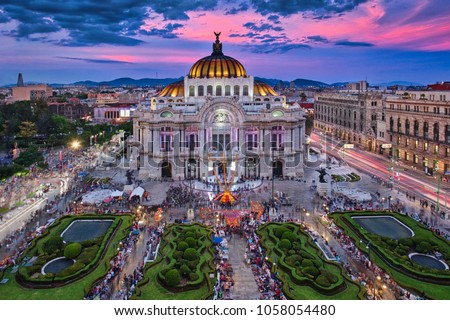 Photo of the Palacio of Bellas Artes at the sunset time #1058054480