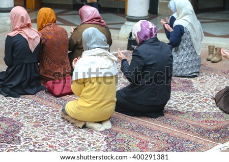 Photo of the Prayer performing by muslim women