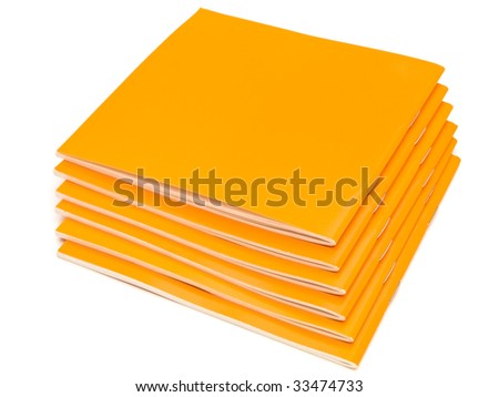 photo of the some orange booklets against the white background
