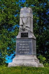 Photo of the 139th Pennsylvania Infantry Monument Near the John Weickert farm, Gettysburg National Military Park, Pennsylvania USA