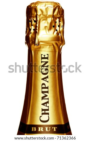Photo of the top of a Champagne bottle, isolated on a white background.