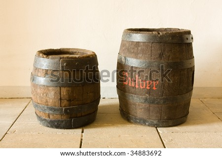 Photo of the very old wooden barrel