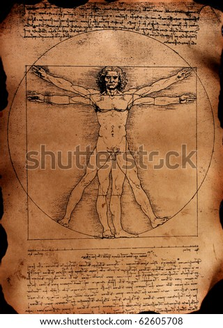 Photo of the Vitruvian Man by Leonardo Da Vinci from 1492 on textured background.