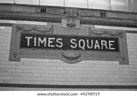 photo of times square sign on entrance to subway
