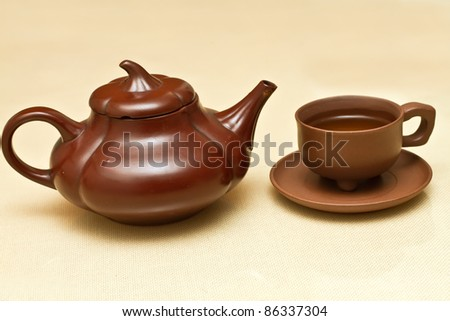 Photo of traditional Chinese tea cup and tea pot