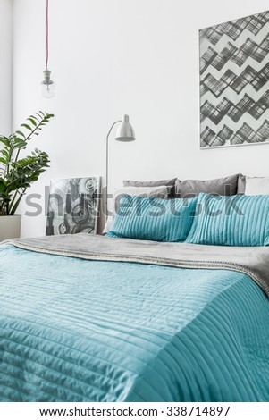 Photo of turquoise decorative bedding in new bedroom