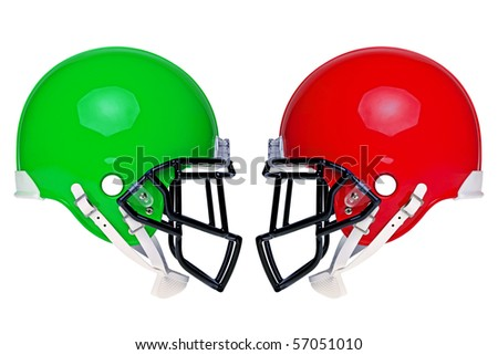 Photo of two American football helmets isolated on a white background.