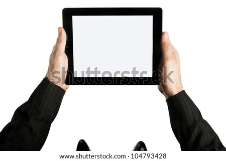 Photo of two hands holding tablet pc on white background