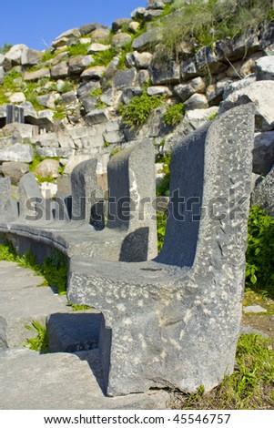 Photo of V.I.P. Seats at the Roman theater in Irbid, Um Qais Jordan