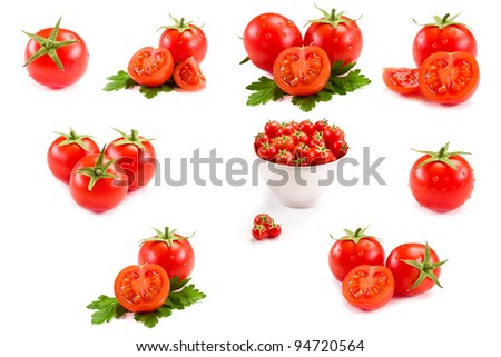 photo of very fresh tomatoes presented on white background - Collage