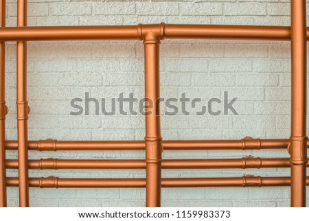 Photo of wall pipes can be used for mock ups, backgrounds, wedding, invitations cards and designs. #1159983373
