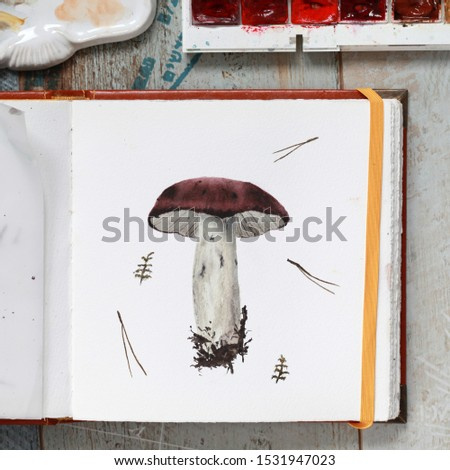 Photo of watercolor mushroom in a sketchbook, russula.