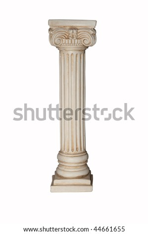 Photo of white column isolated on white background. Clipping path included.