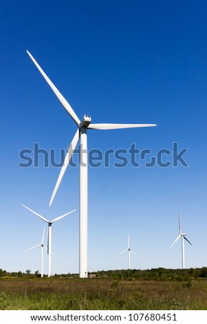 Photo of wind turbines in the wind farm
