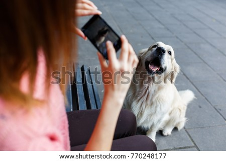 Photo of woman on bench photographing dog