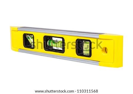 Photo of yellow spirit level isolated on white background
