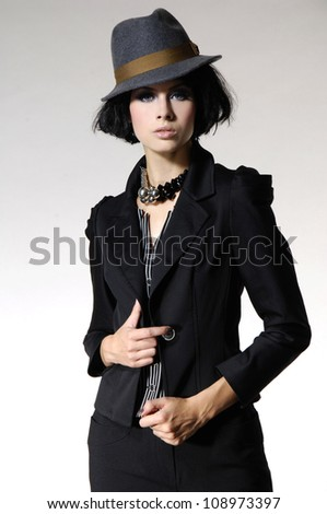 Photo of young fashionable beautiful woman casual cloth in modern stylish in hat