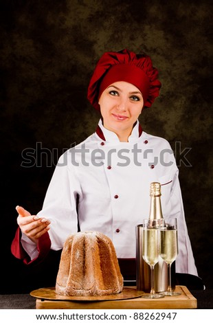 photo of young female chef presenting the new year menu