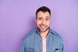 Photo of young handsome man worried nervous oops fail mistake anxious problem trouble isolated over violet color background