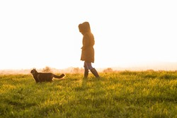 Photo of young woman with her Norwegian Forest cat in meadow at sunset. Soft light.