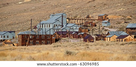 photo old mining ghost town in west america