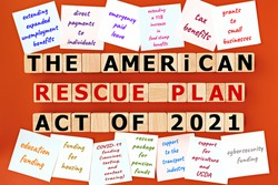 photo on The American Rescue Plan Act of 2021 theme. wooden cubes with the inscription