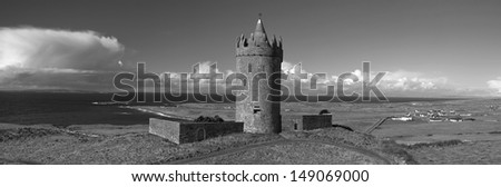 photo panoramic old ancient irish castle west coast ireland