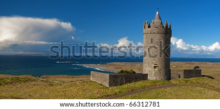 photo panoramic old ancient irish castle west coast ireland - stock photo