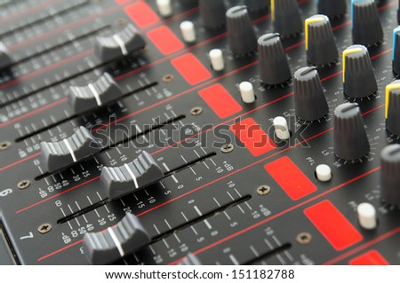 Photo  part of control an audio sound mixer