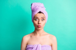 Photo portrait funny woman turban on head doing spa procedures send air kiss pouted lips isolated bright teal color background