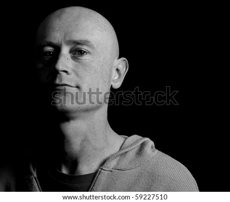photo portrait male shaved head close up