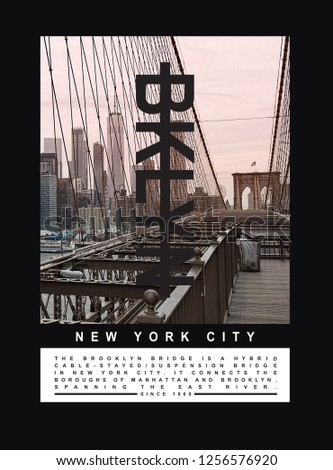 Photo print Brooklyn bridge illustration, tee shirt graphics, typography #1256576920