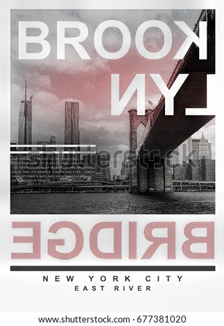 Photo print Brooklyn bridge illustration, tee shirt graphics, typography
