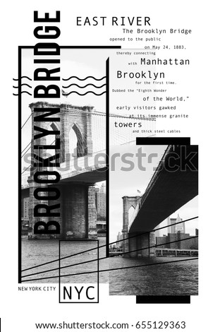 Photo print Brooklyn bridge , New York typography, tee shirt graphics