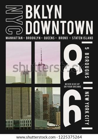 Photo print Brooklyn illustration, tee shirt graphics, typography