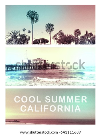 Photo print California beach illustration, cool summer typography, tee shirt graphics,