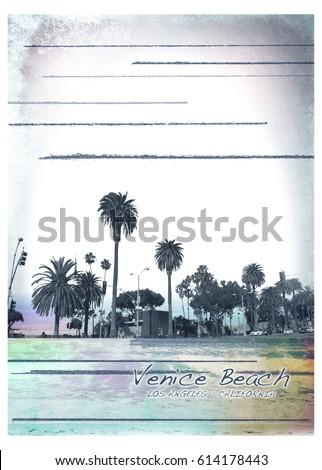 Photo print California beach, illustration, tee shirt graphics
