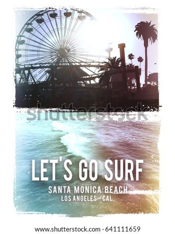 Photo print California beach illustration, tee shirt graphics, surf typography
