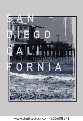 Photo print California  beach San Diego , tee shirt graphics, typography