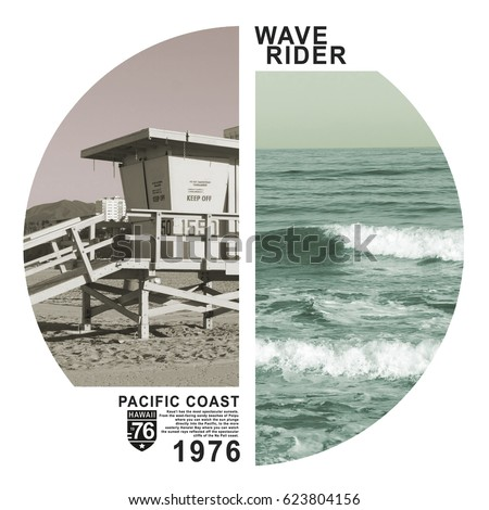 Photo print California beach , tee shirt graphics, wave rider surf,