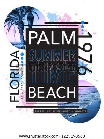 Photo print Florida beach illustration, tee shirt graphics, palm beach typography