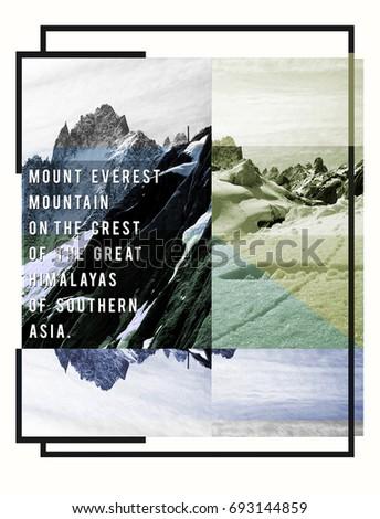 Photo print Mountain Everest illustration, tee shirt graphics, typography