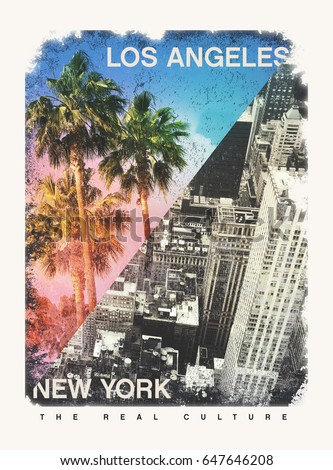 Photo print New York and palm tree California illustration, tee shirt graphics, Los Angeles and New York typography