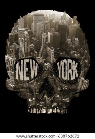 Photo print New York and skull illustration, tee shirt graphics, typography